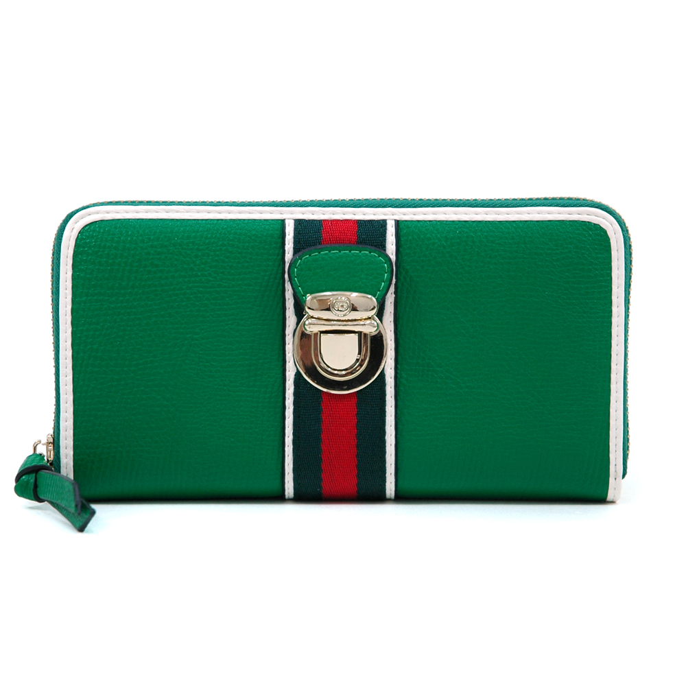 Women's Classic Two-Tone Zip-Around Wallet with Buckle & Stripe Accent