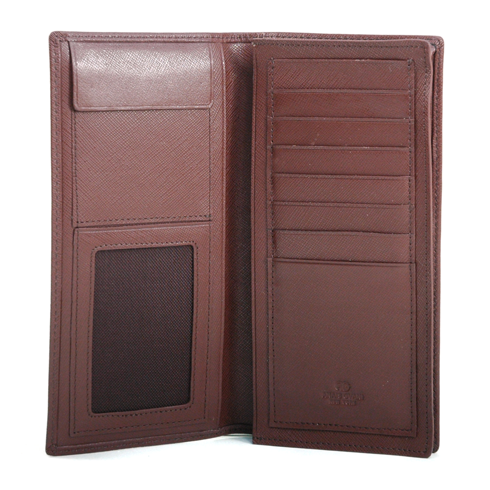 Anais Gvani® Men's Genuine Fine Grain Leather Long Bi-fold Wallet