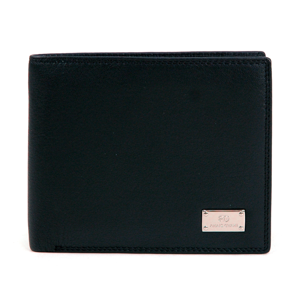 Anais Gvani® Men's Smooth Genuine Italian Leather Wallet -  Black