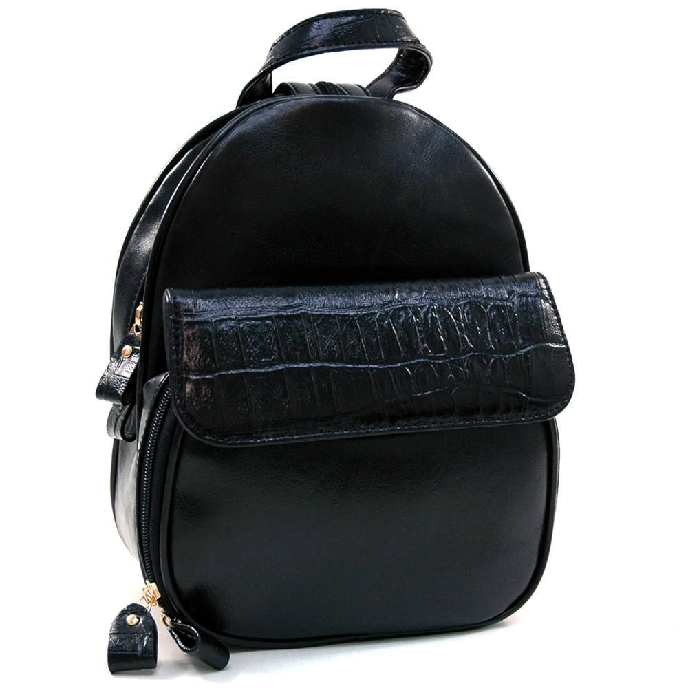 Belle Rose Convertible Fashion Backpack Zippered Strap with Croco Trim - Black