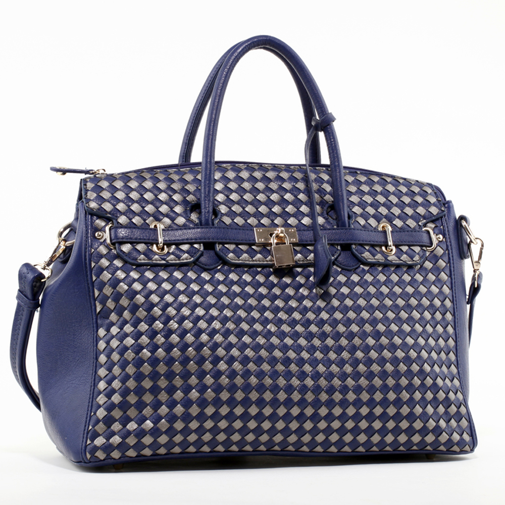 Emperia Woven Design Satchel Bag with Lock Accent