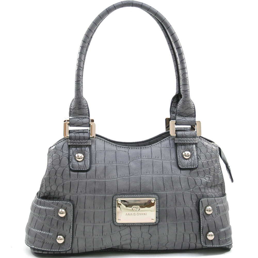 Anais Gvani® Corona Park Concave Top Croco Shoulder Bag