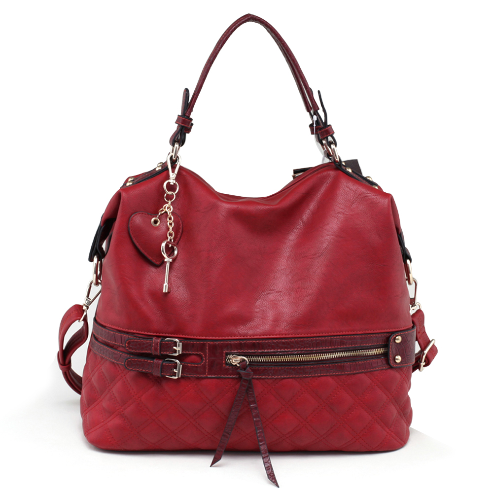 Emperia Large Fashion Belted Satchel with Quilted Accent, Croco Trim & Bonus Strap