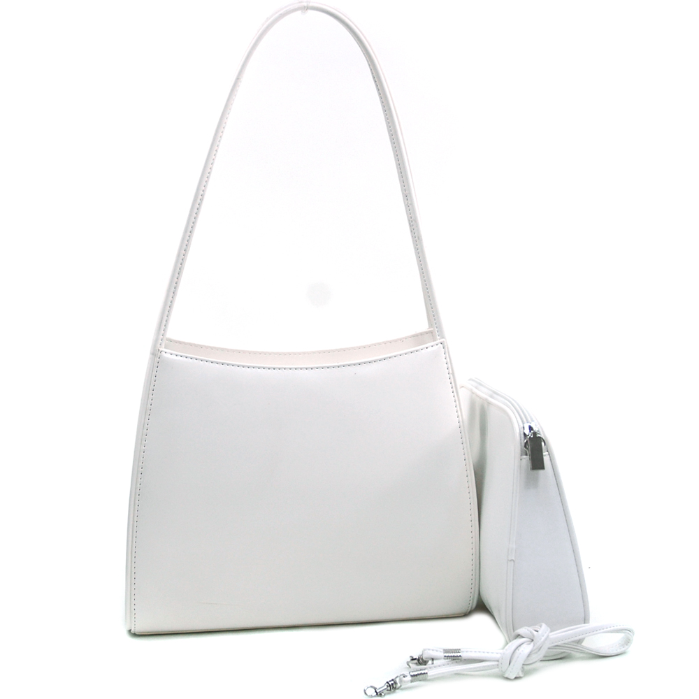 Classic Fine Textured Classic Shoulder Handbag Purse w/ bonus Cosmetic Bag