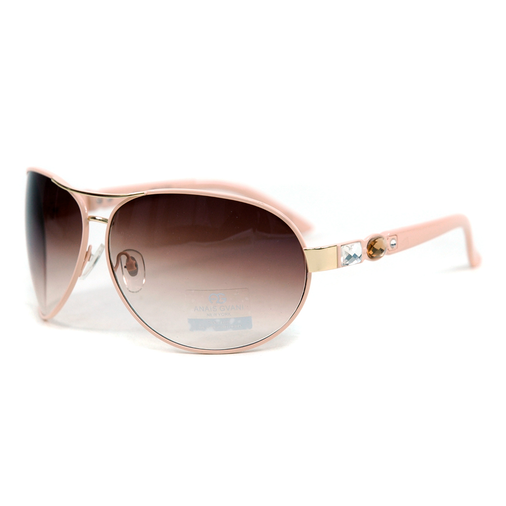Women's Glitzy Fashion Aviator Sunglasses w/ Gem Stones on Side