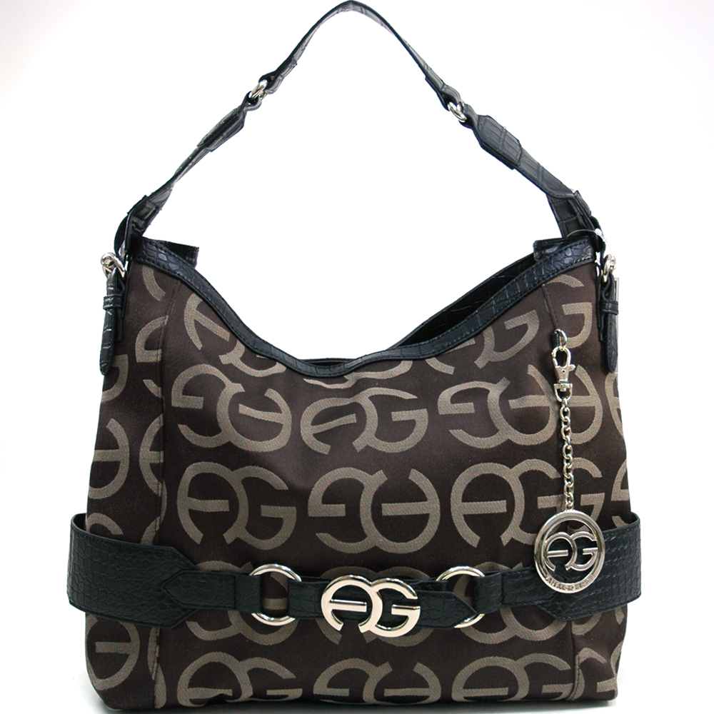 Anais Gvani Women's Large Logo Monogrammed Hobo Bag with Croco Trim & Bonus Strap - Coffee