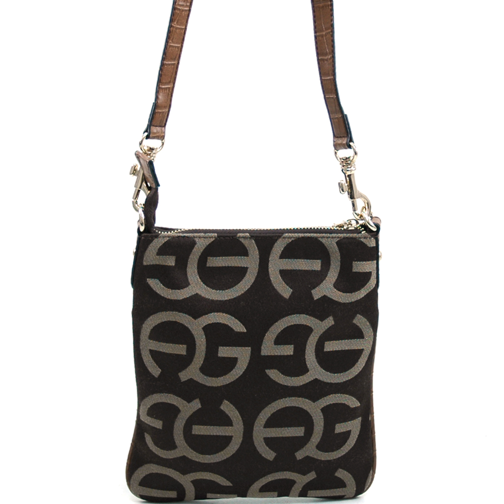Women's Fashion Monogram Messenger Bag with Gold Accents - Coffee/Coffee