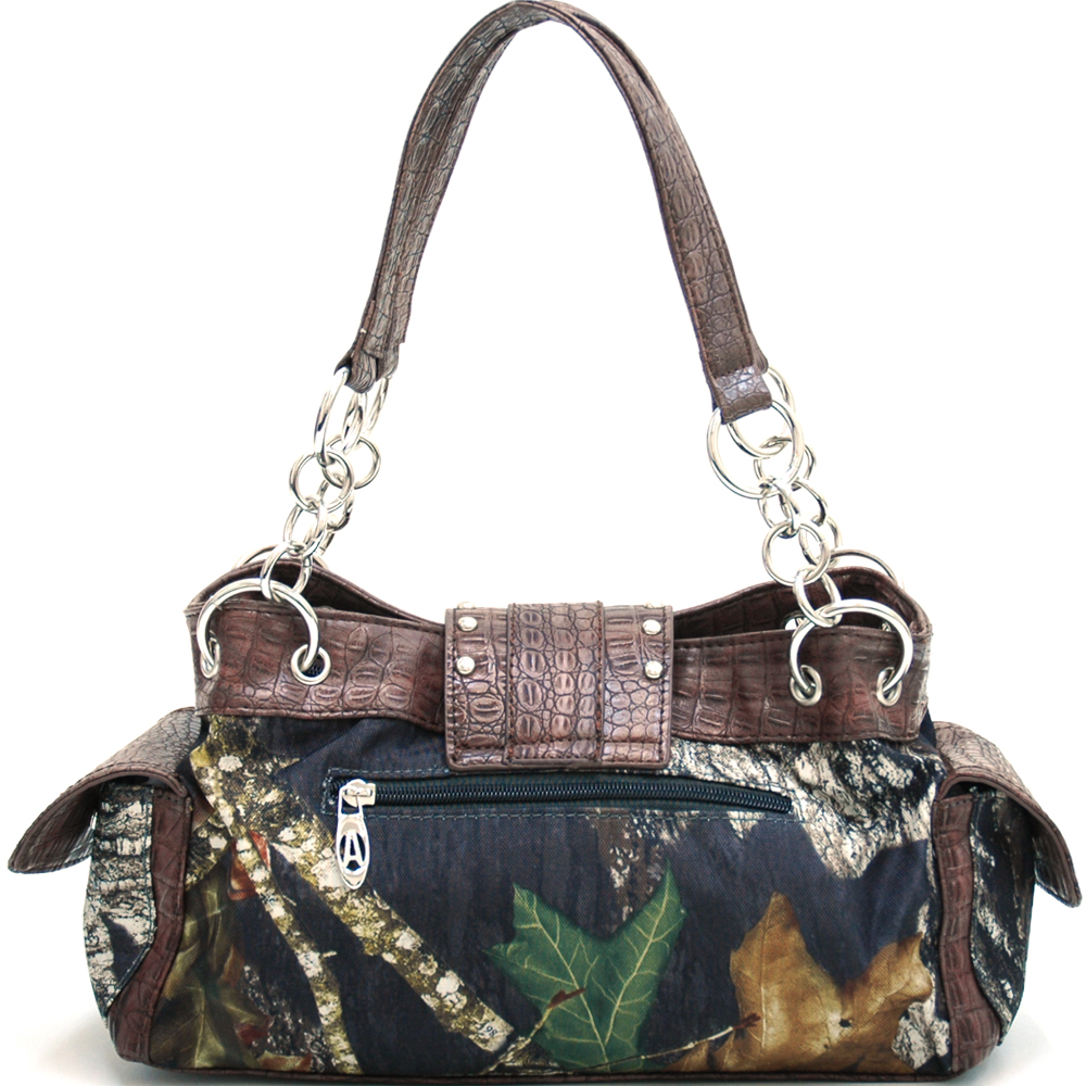 Mossy Oak® Infinity Camo Rhinestone Buckle & Croco Rimmed Shoulder Bag