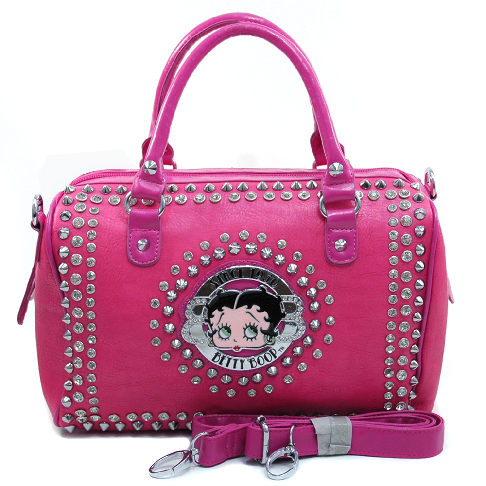 Betty Boop® Original Rhinestone Studded Barrel Satchel
