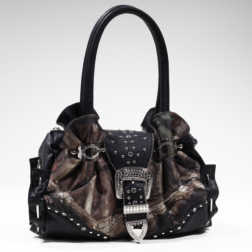 Mossy Oak® Infinity Camo Rhinestone Buckle Cuffed Shoulder Bag