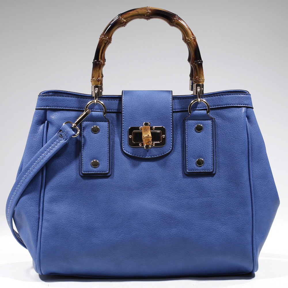 Women's Classic Satchel w/ Wood Style Accents & Twist Lock Closure