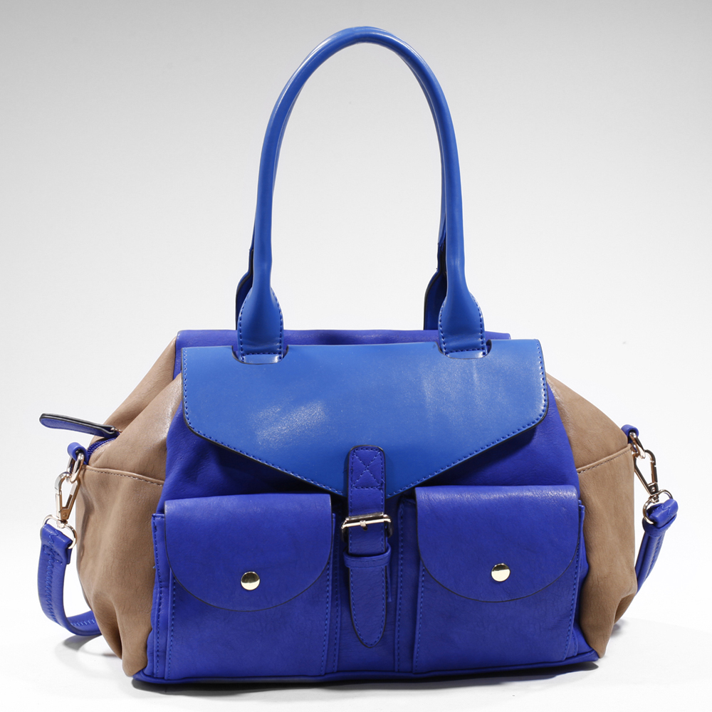 Women's Two-tone Fashion Shoulder Bag with 2 Front Pockets - Blue/Light Tan