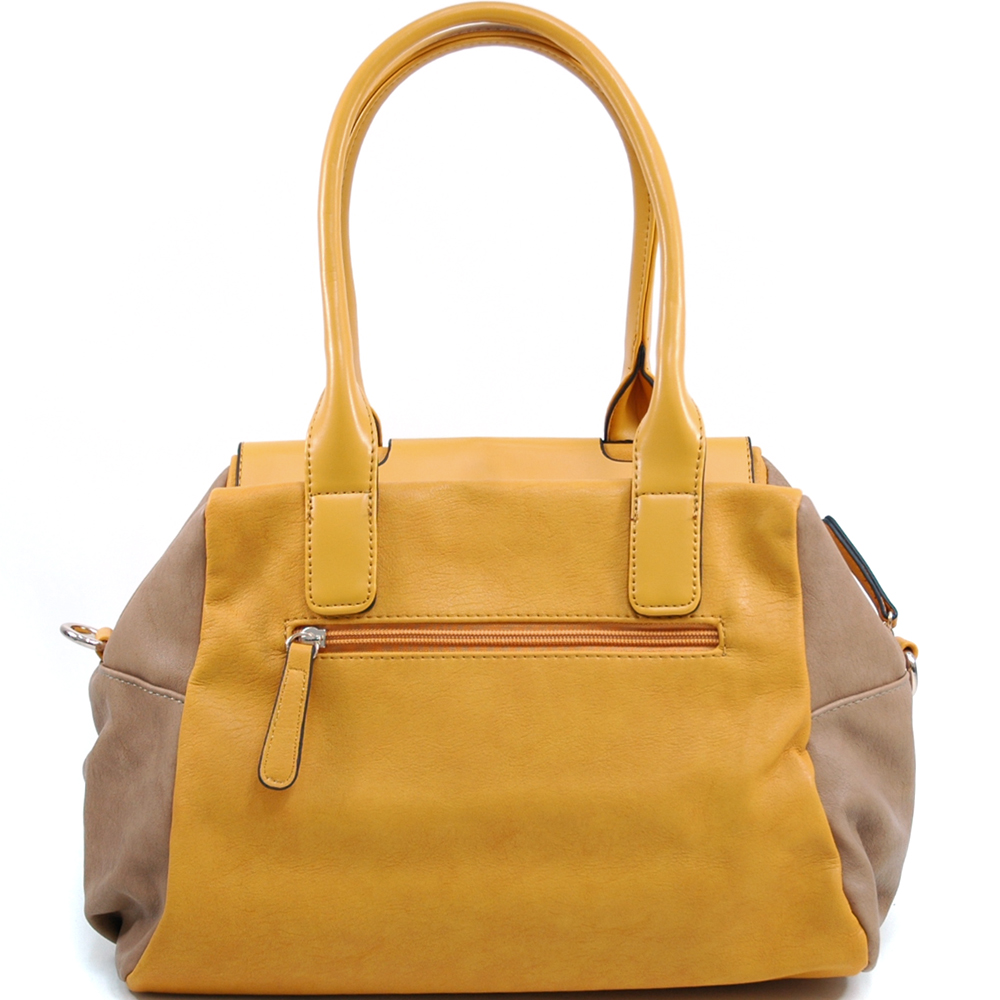 Women's Two-tone Fashion Shoulder Bag with 2 Front Pockets - /Light Tan