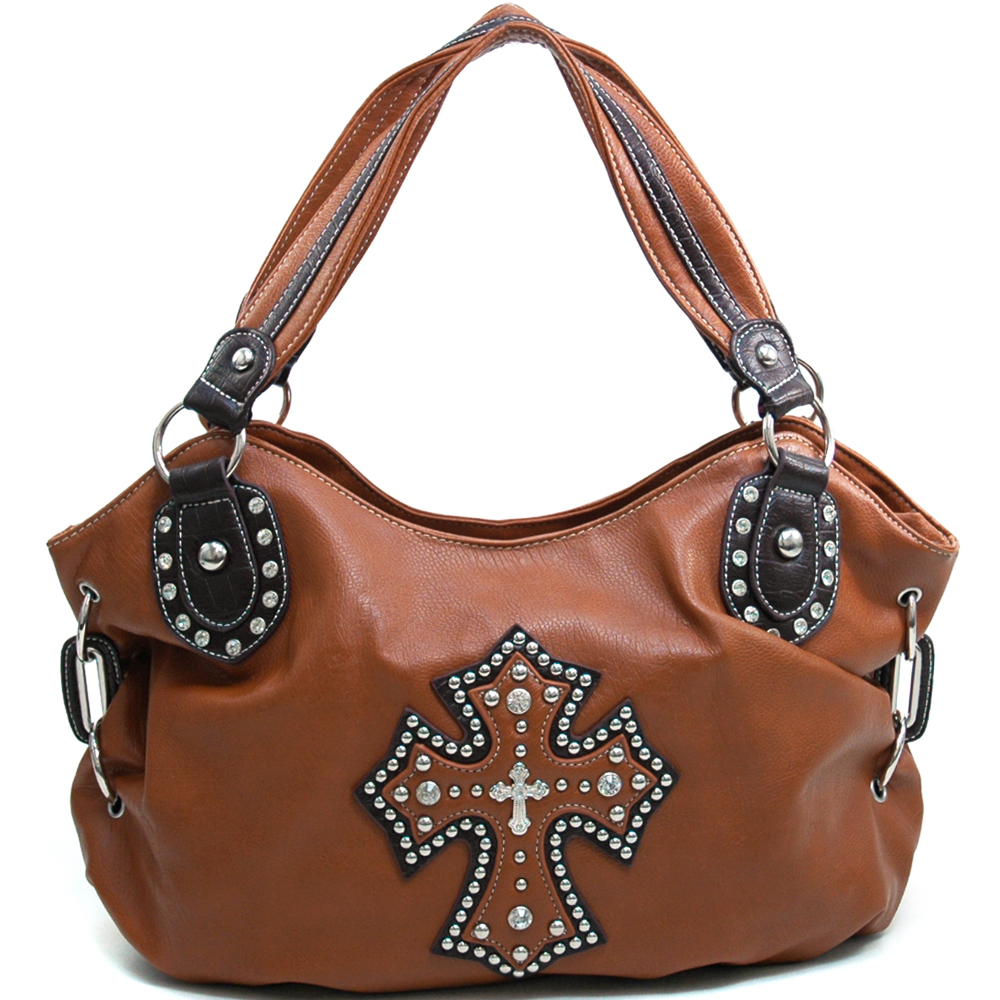 Women's Cross Accented Hobo Bag with Rhinestones Studs & Croco Trim