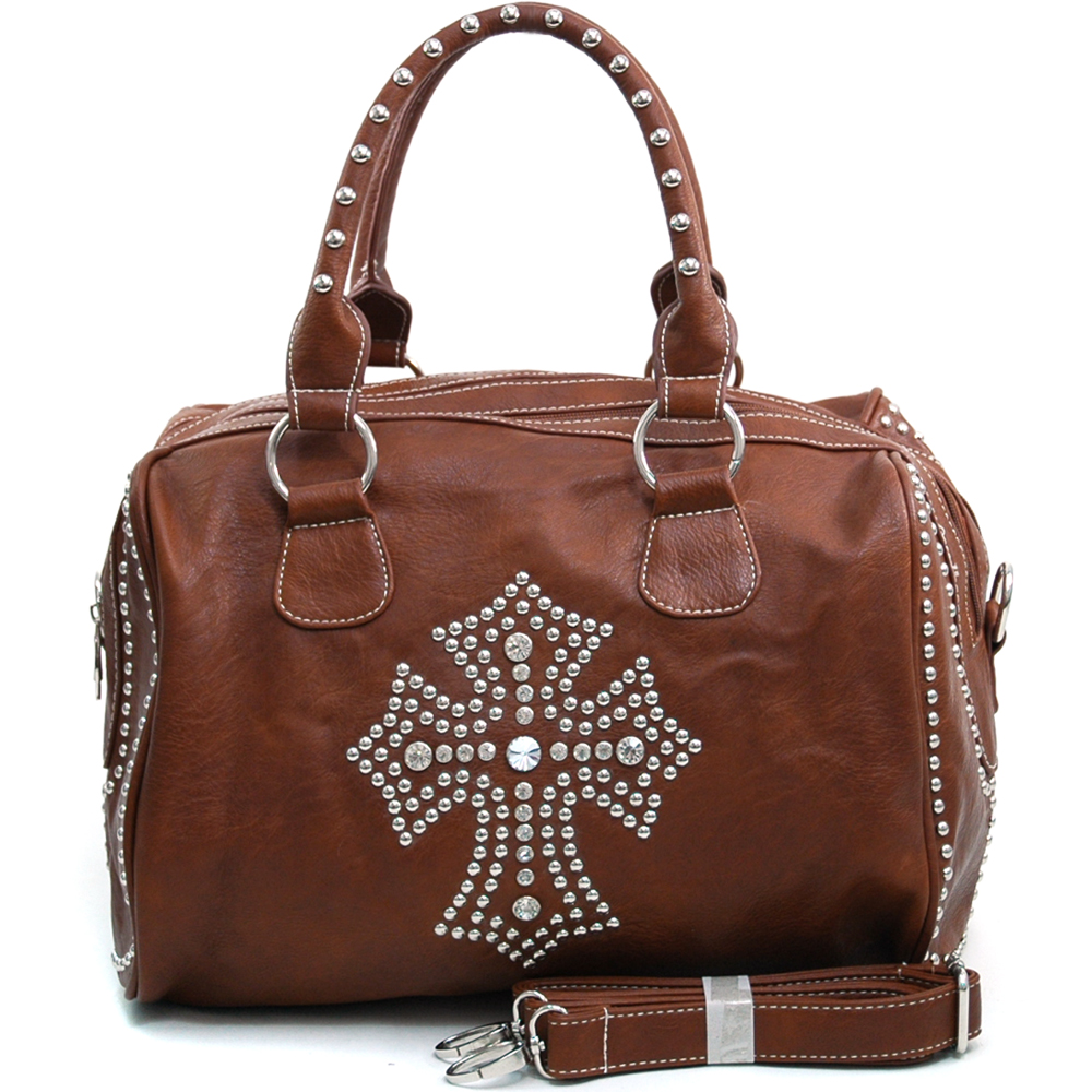 Women's Large Rhinestone Studded Cross Accented Satchel Bag with Bonus Strap