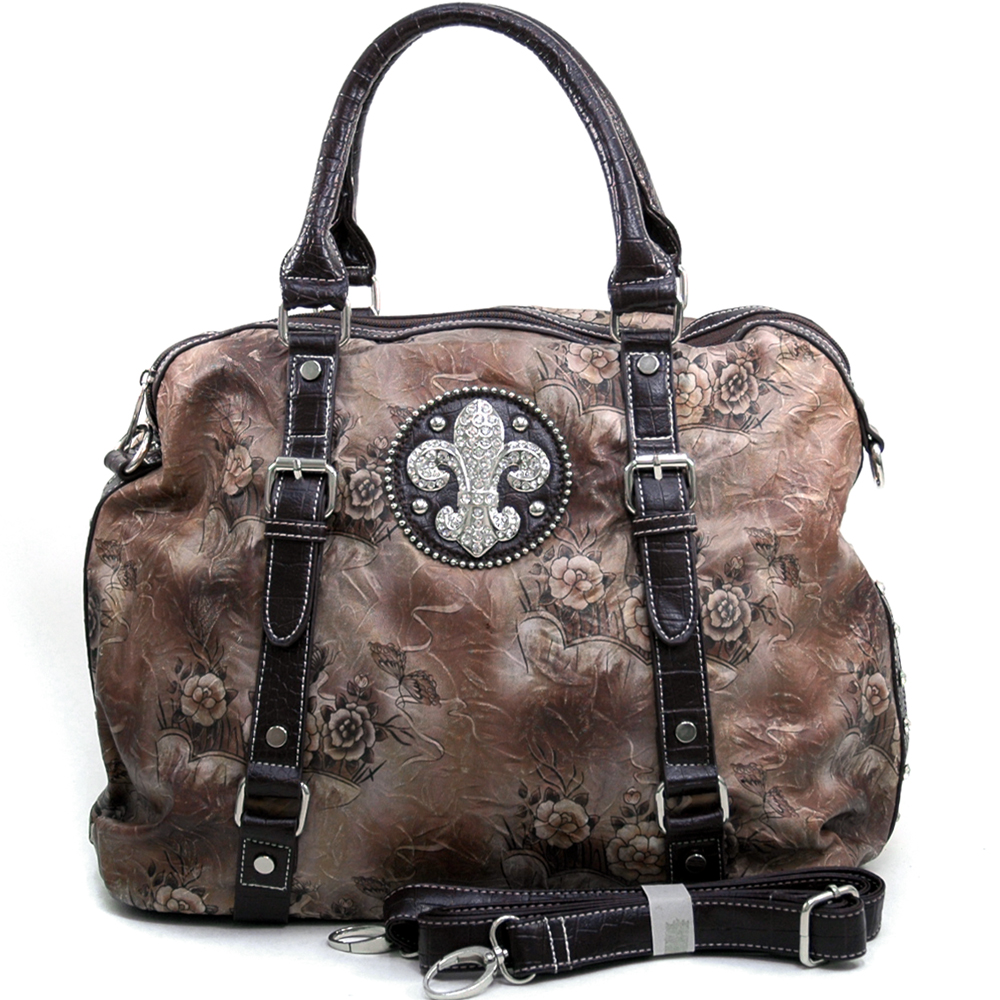 Women's Tall Fleur de Lis Accented Floral Satchel with Bonus Strap - Brown