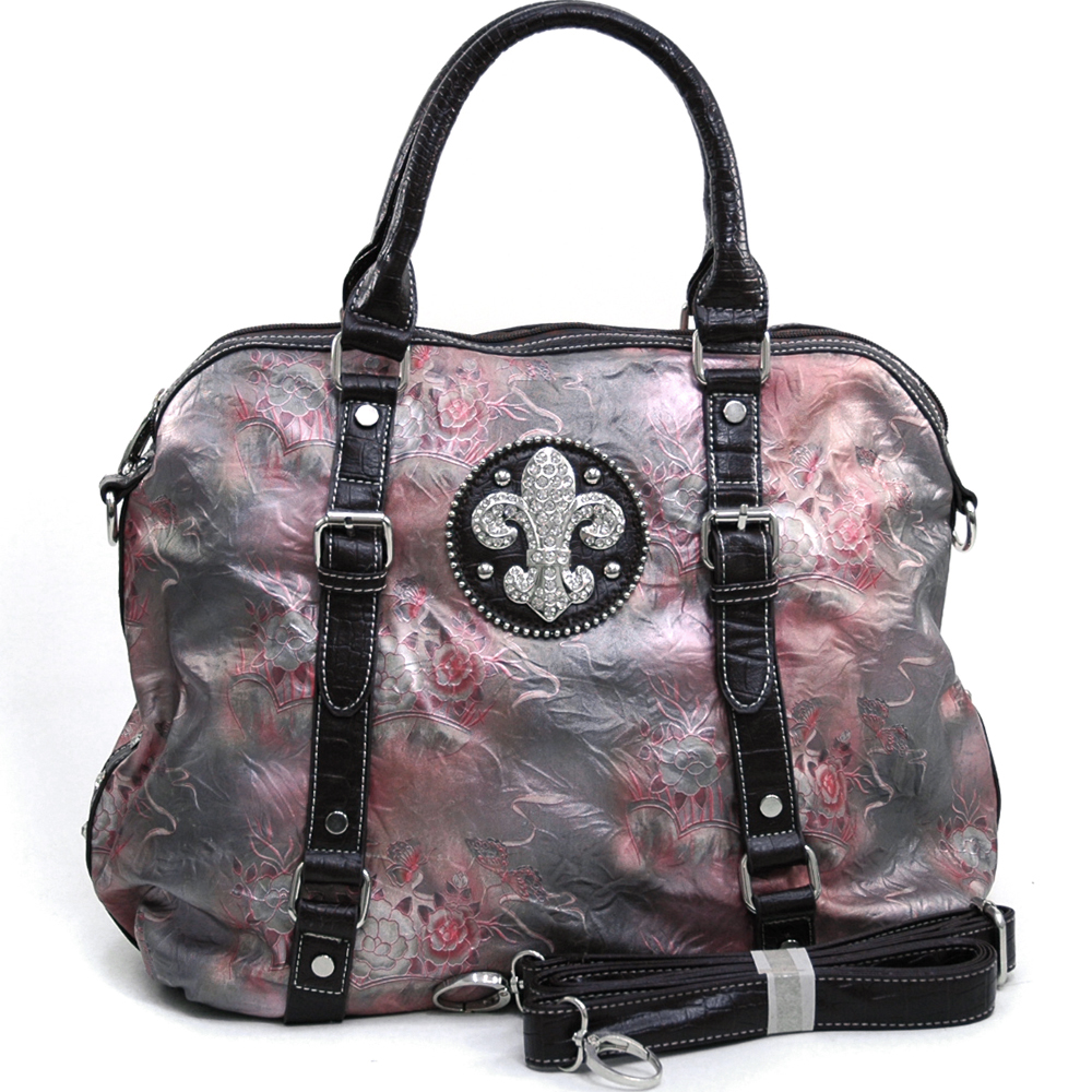 Women's Tall Fleur de Lis Accented Floral Satchel with Bonus Strap - Pink