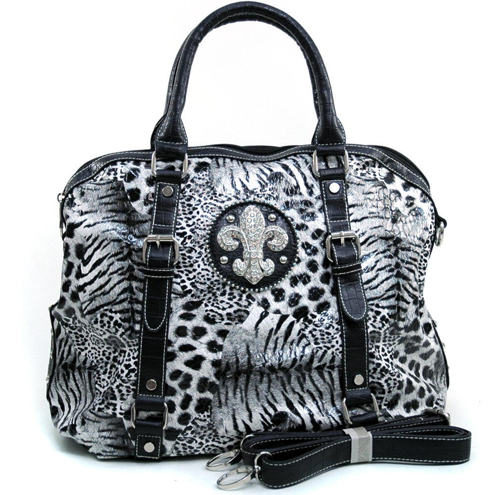 Women's Tall Fleur de Lis Accented Animal Print Satchel with Bonus Strap - Black/White