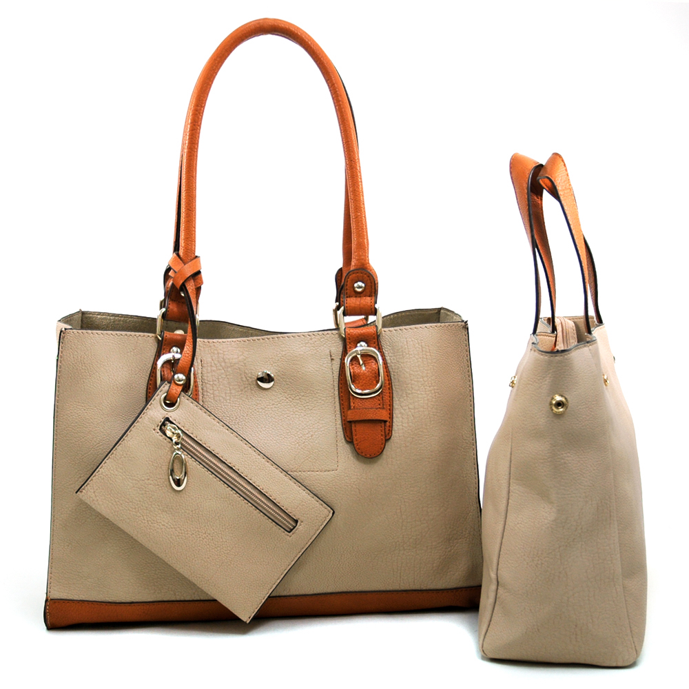 To-Toned 2-in-1 Tote Bag with Attached Coin Pouch - /Bron Trim
