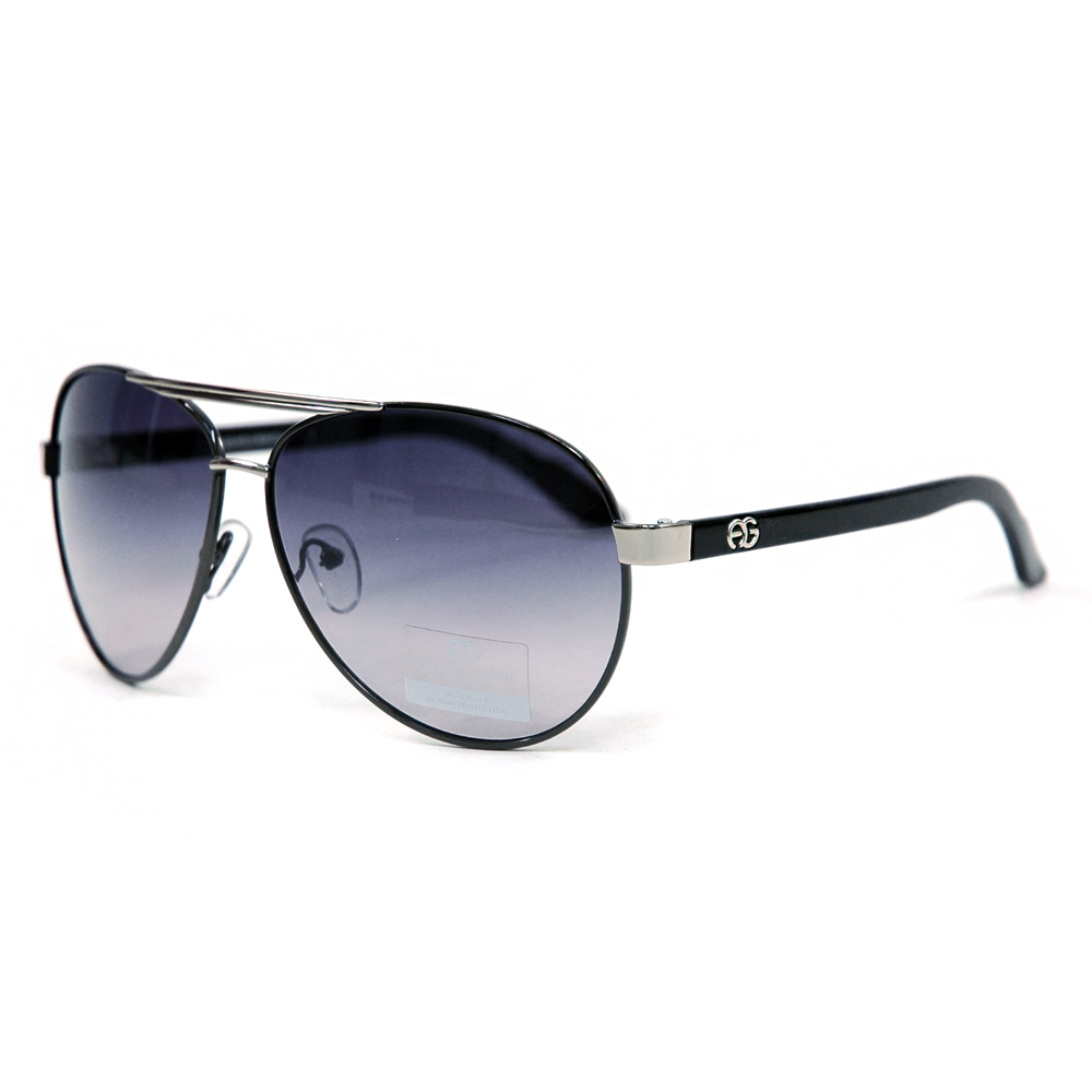 Women's Classic Aviator Sunglasses w/ Logo Accent on Side - /  Accent
