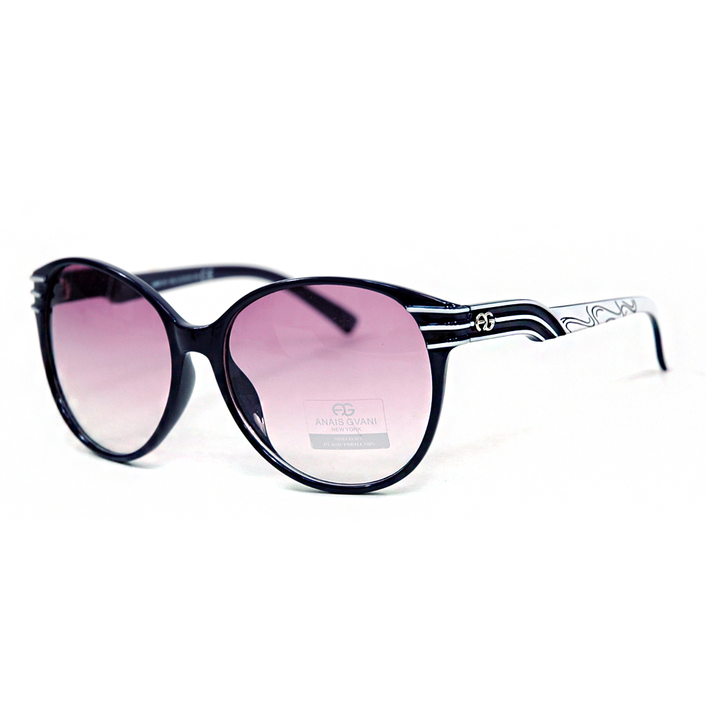 Women's Fashionable Round Frame Sunglasses w/ Stripe & Stroke Accents
