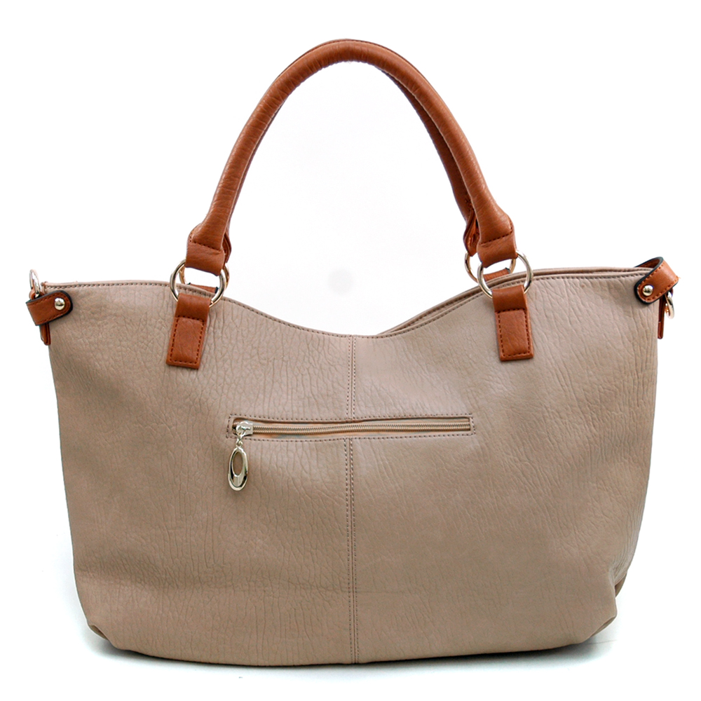Women's Oversize Belted Fashion Tote with Bonus Strap -  Beige/Brown