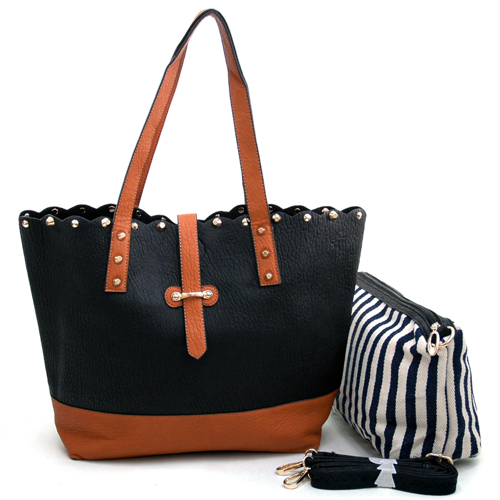 Women's Two-Tone Studded 2-in-1 Tote Bag with Bonus Canvas Cosmetic Bag & Bonus Strap - Black/Brown