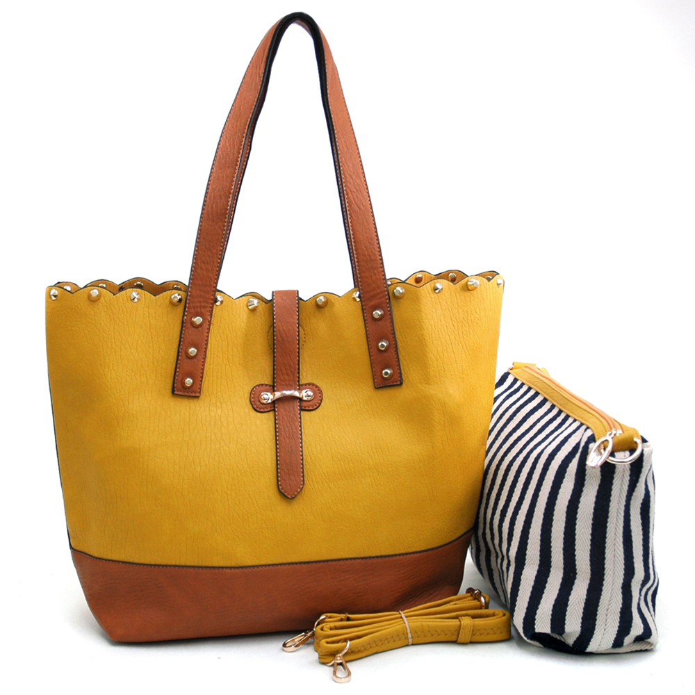Women's Two-Tone Studded 2-in-1 Tote Bag with Bonus Canvas Cosmetic Bag & Bonus Strap - Mustard/Brown