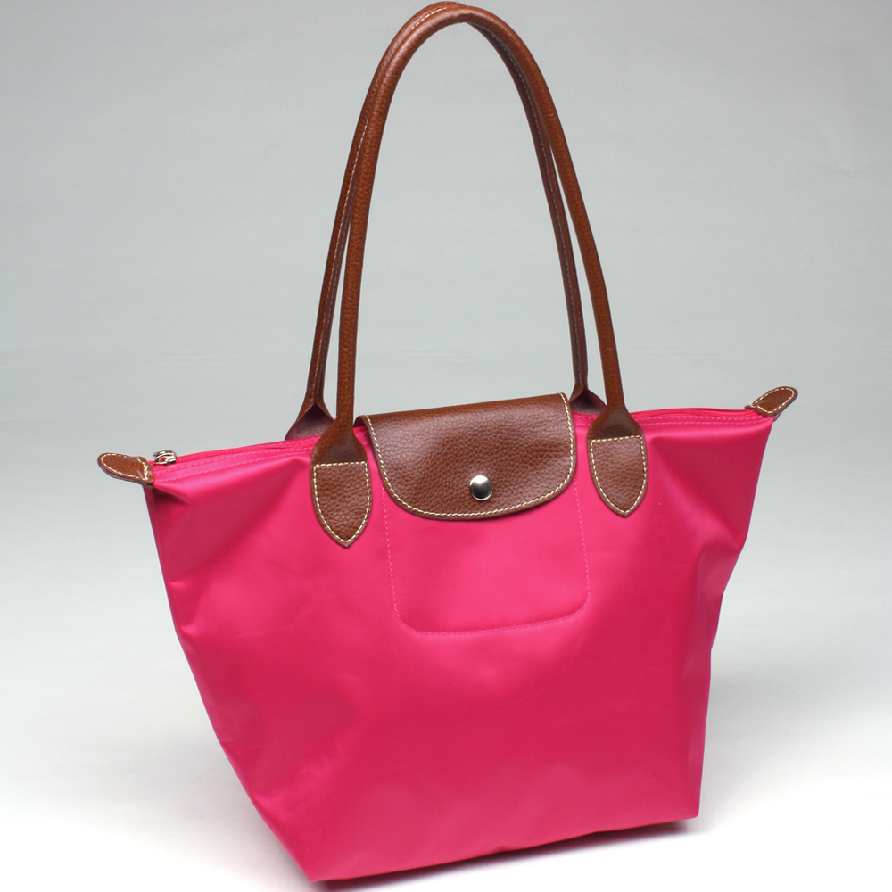 Light Polyester Fashion Tote with Faux Leather Trim