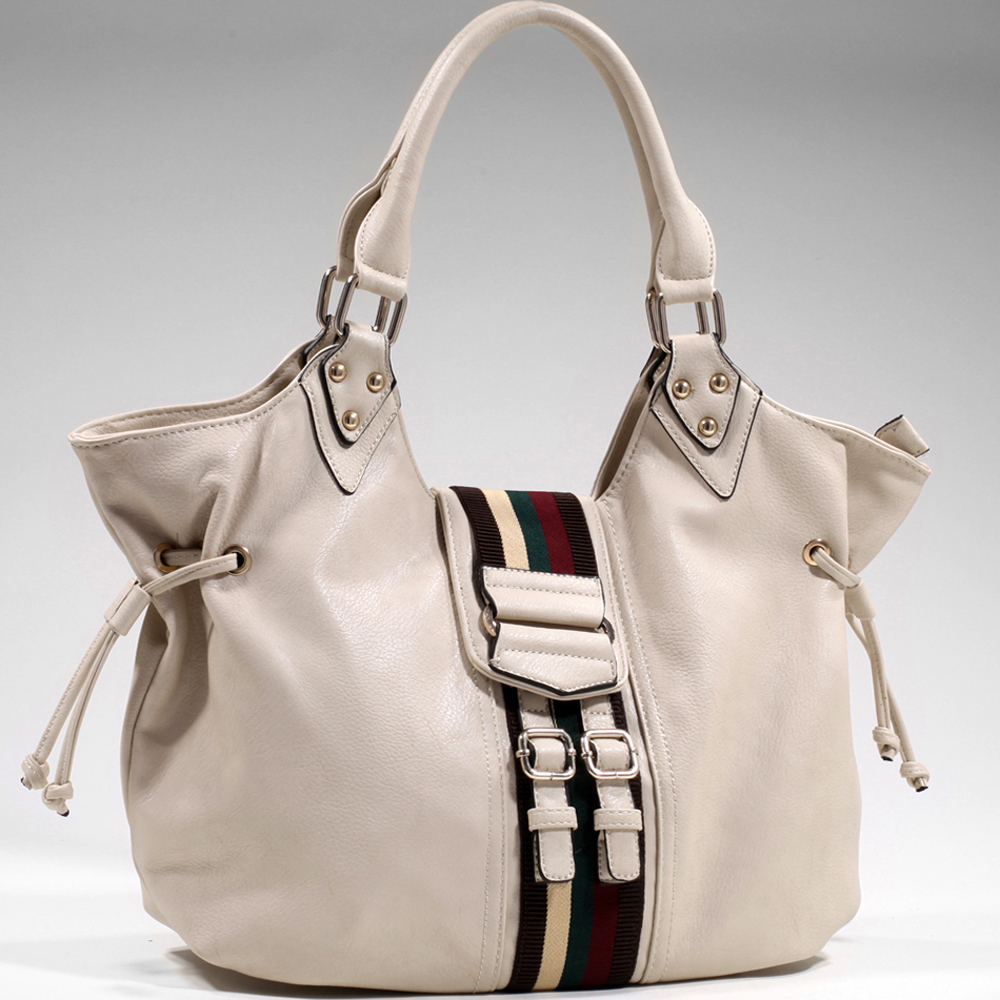 Women's Wide Belted Fashion Shoulder Bag w/ Stripe Accent & Drawstring Decor