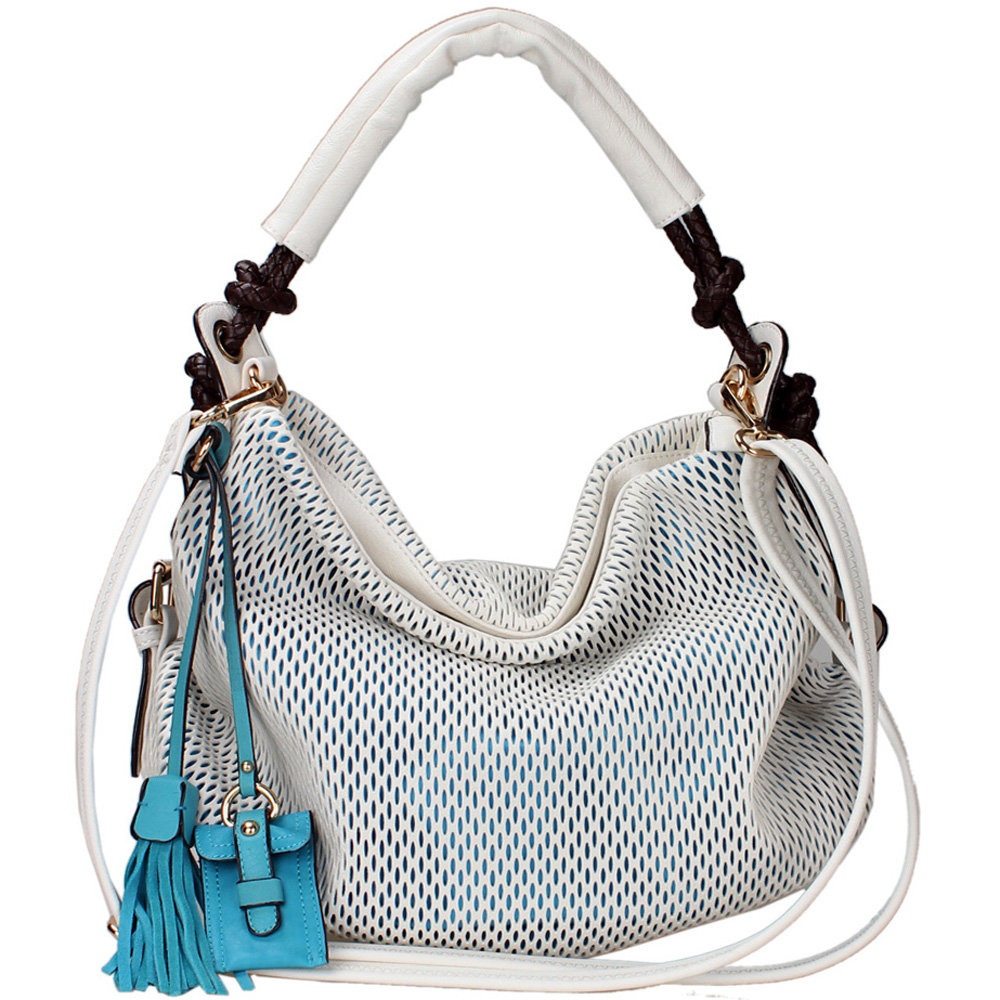 omen's Fashion Hobo Bag  Mesh Exterior & Tassel Accent