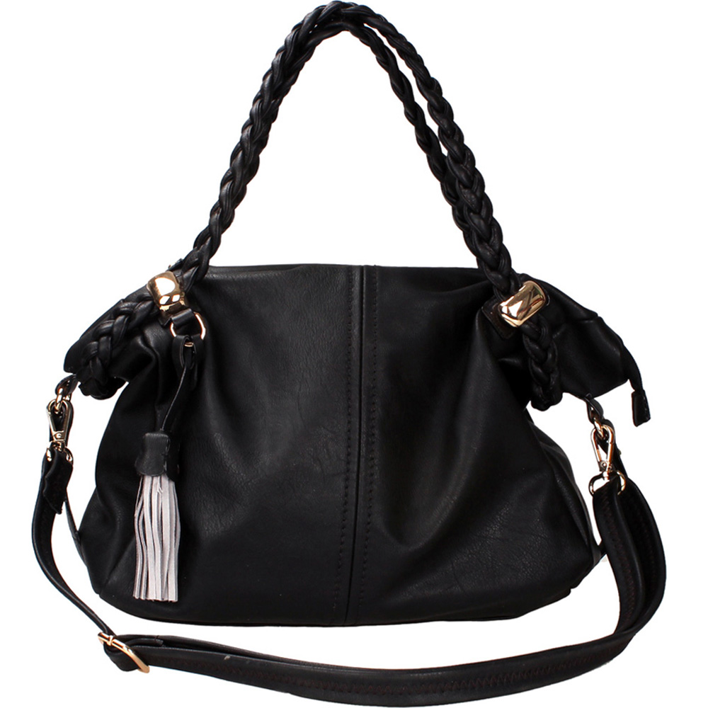 Women's Classic Belted Fashion Satchel with Braided Straps & Tassel Accent - Black