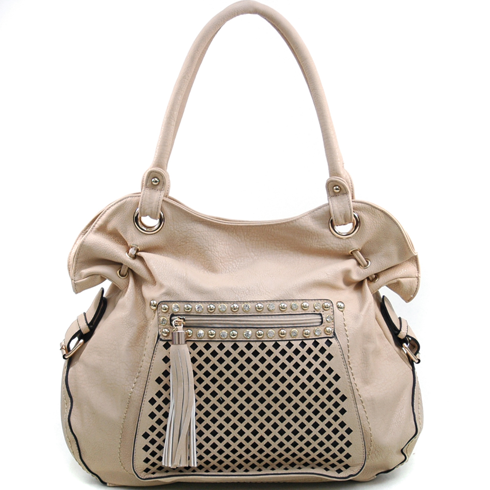 Women's Belted Fashion Shoulder Bag with Rhinestone Studs & Front Zippered Pocket