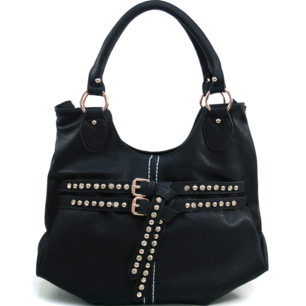 Women's Fashion Hobo with Chic Rhinestone Studded Belt Accent