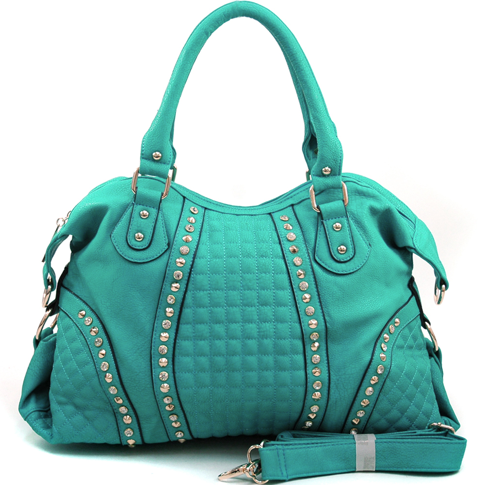 Louis Cardy® Rhinestone Studded Quilted Trim Satchel