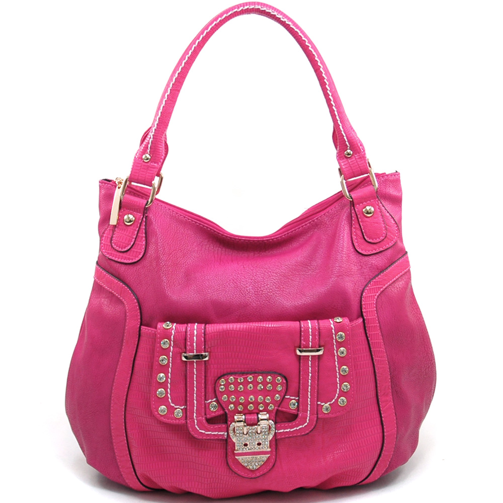 Women's Fashion Shoulder Bag with Rhinestone Accents & Croco Trim