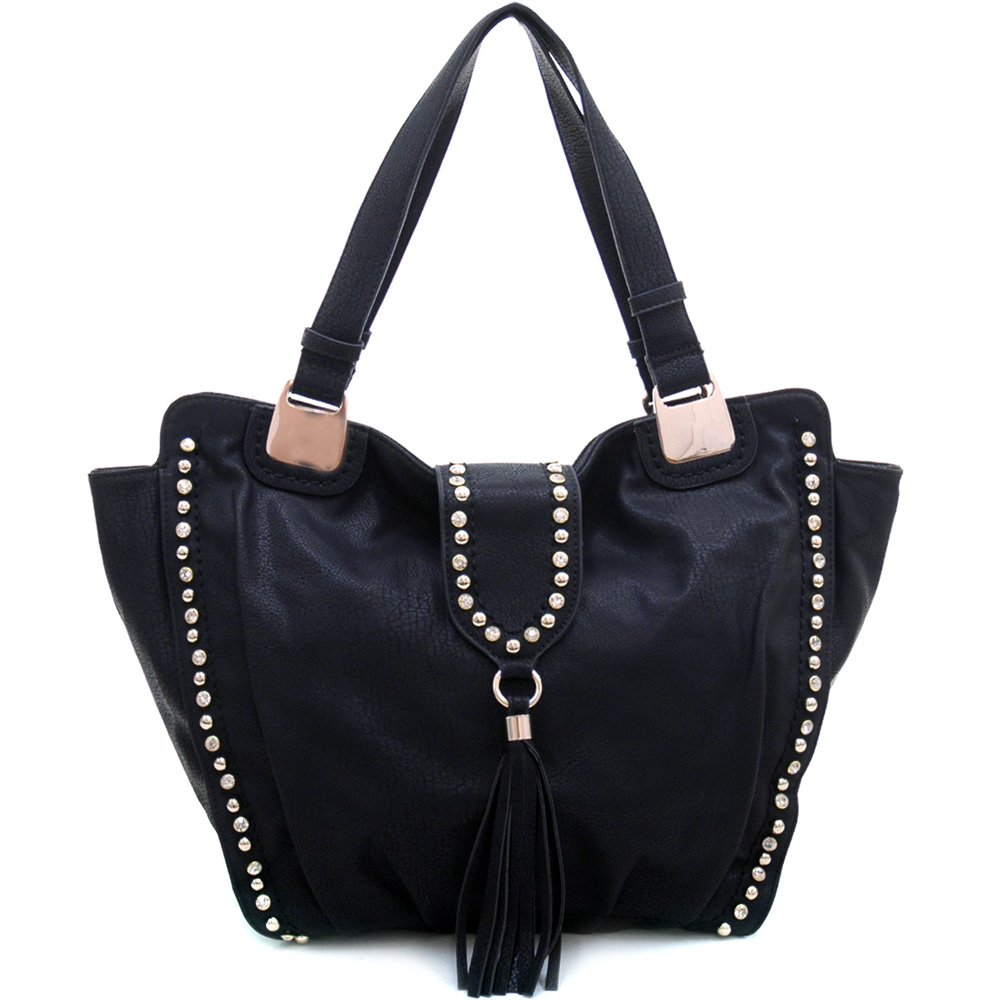 Women's Rhinestone Fashion Shoulder Bag with Gold Studs & Tassel Accent - Black