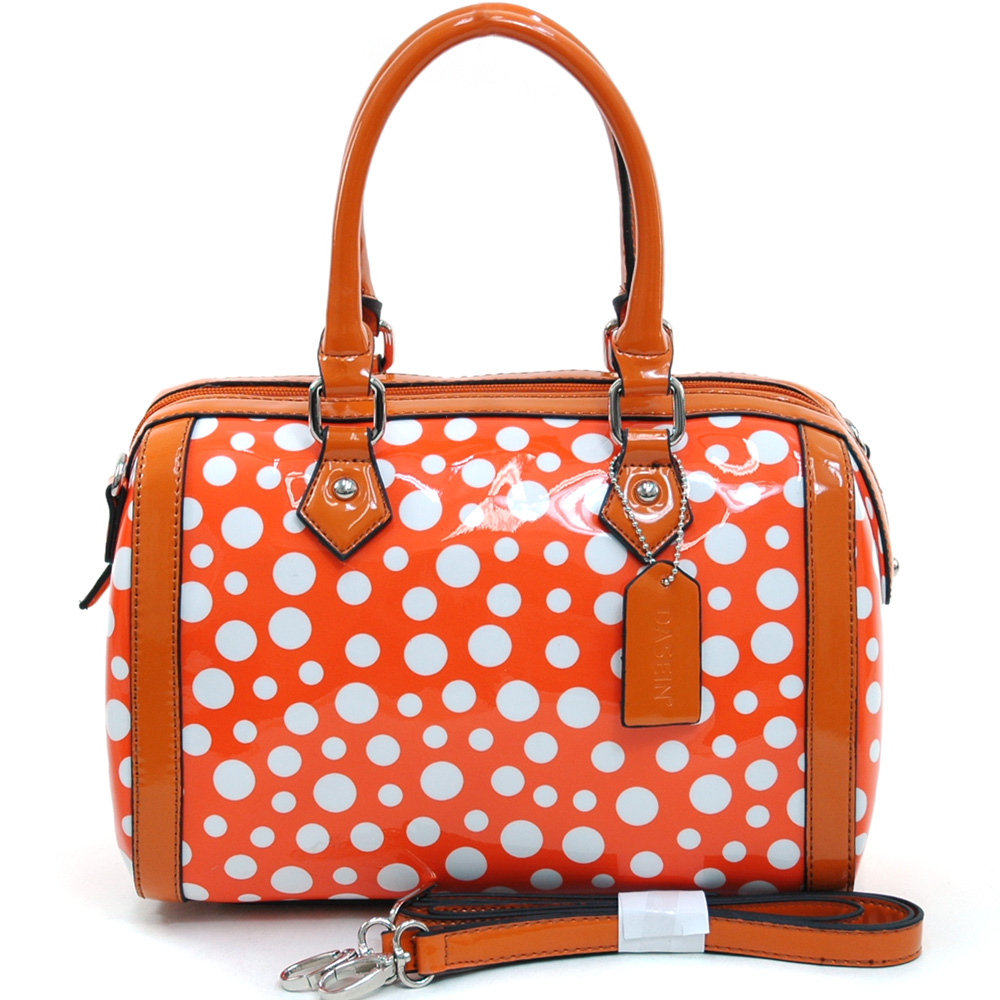 Women's Petite Glossy Polka Dot Fashion Satchel w/ Bonus Strap - /White