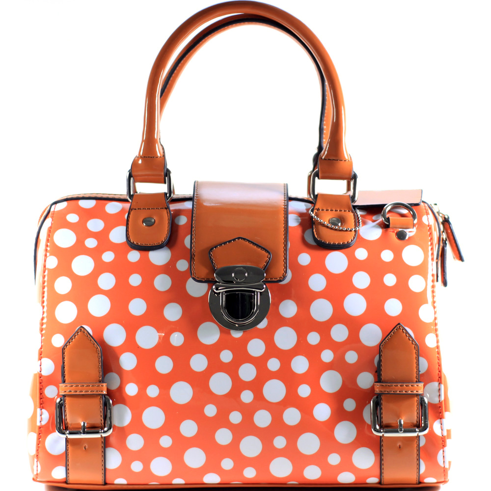 Dasein® Retro Glossy Polka Dot Barrel Satchel