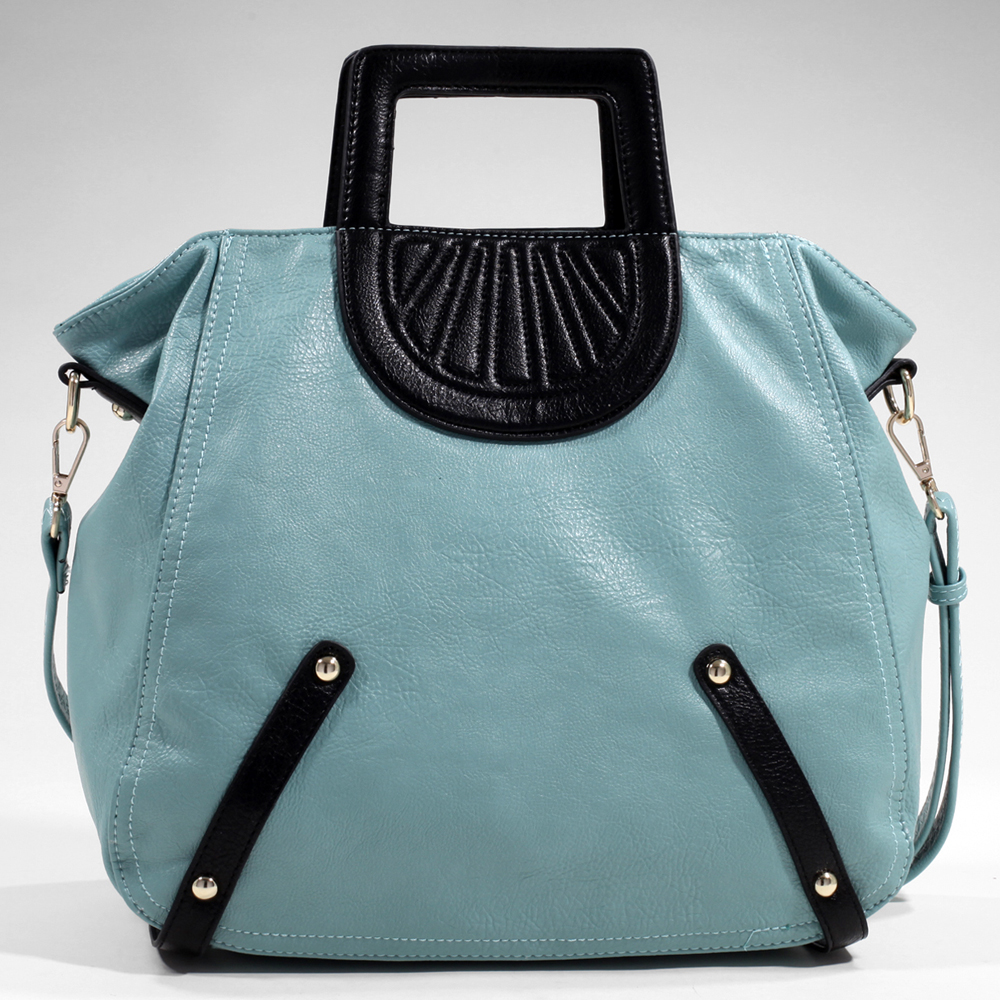 Women's Tall Carrying Fashion Satchel with Stitch Accents & Bonus Strap - Light Blue