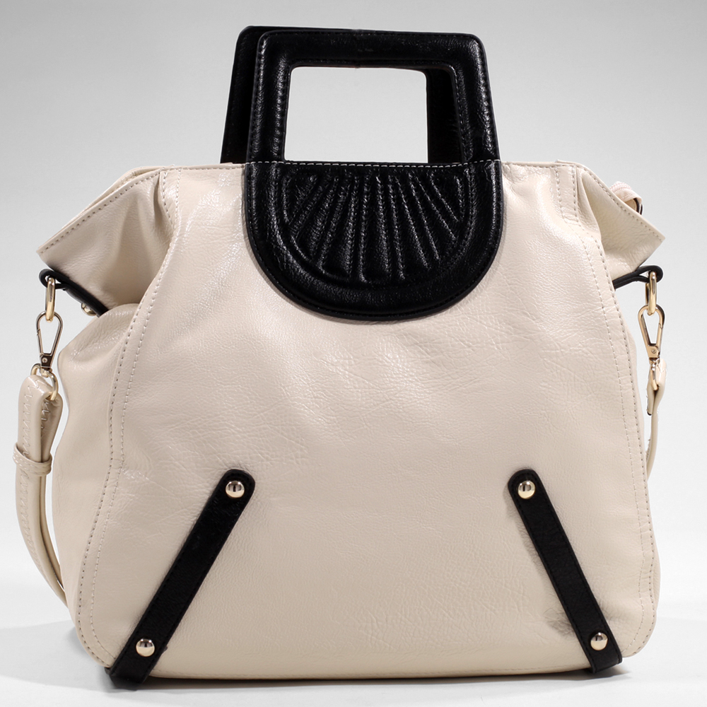Women's Tall Carrying Fashion Satchel with Stitch Accents & Bonus Strap - Cream