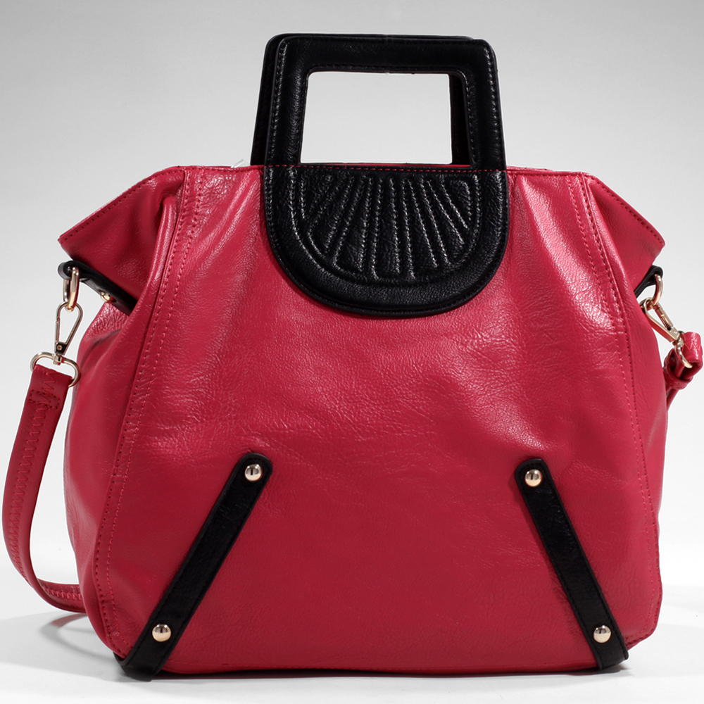 Women's Tall Carrying Fashion Satchel with Stitch Accents & Bonus Strap - Fuchsia
