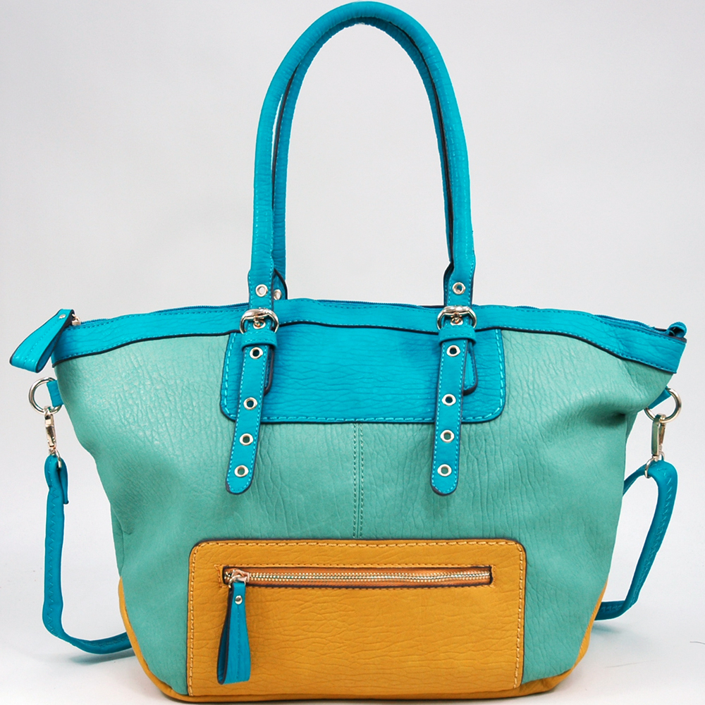 Women's Multicolored Fashion Tote with Bonus Strap - Light Green