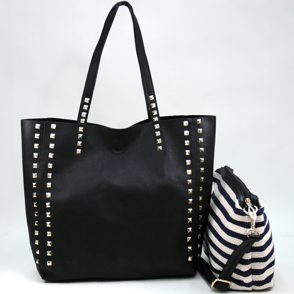 Alyssa® Pyramid Studded 2-in-1 Tote With Bonus Canvas Bag