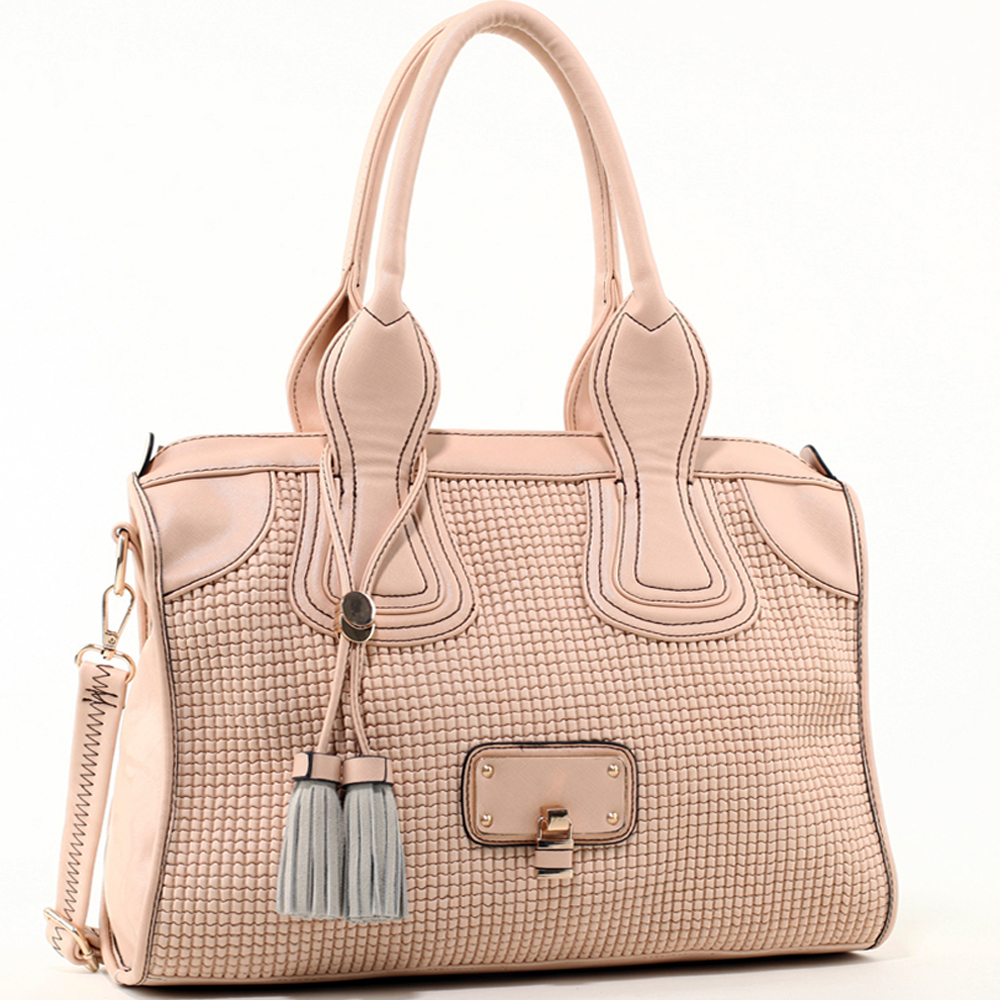 Women's Classic Faux Leather Shoulder Bag with Textured Front & Tassel Accent - Beige