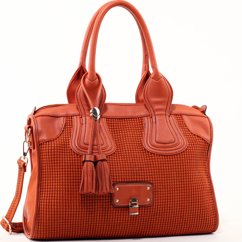Women's Classic Faux Leather Shoulder Bag with Textured Front & Tassel Accent - Orange