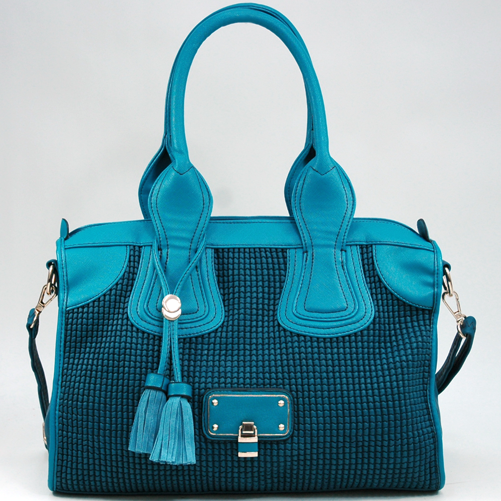 Women's Classic Faux Leather Shoulder Bag with Textured Front & Tassel Accent - Blue