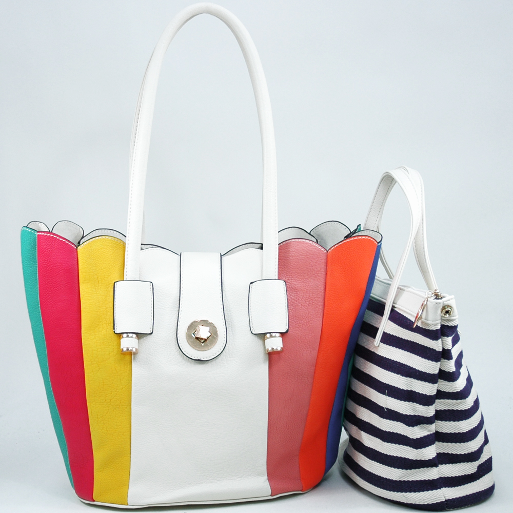 Women's 2-in-1 Multicolor Tote Bag with Bonus Canvas Bag - White/Multicolor