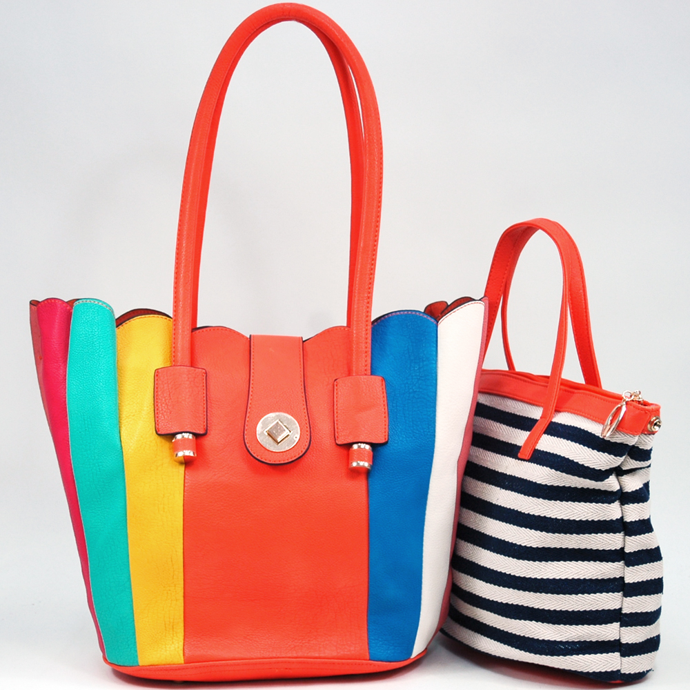 Women's 2-in-1 Multicolor Tote Bag with Bonus Canvas Bag - Orange/Multicolor