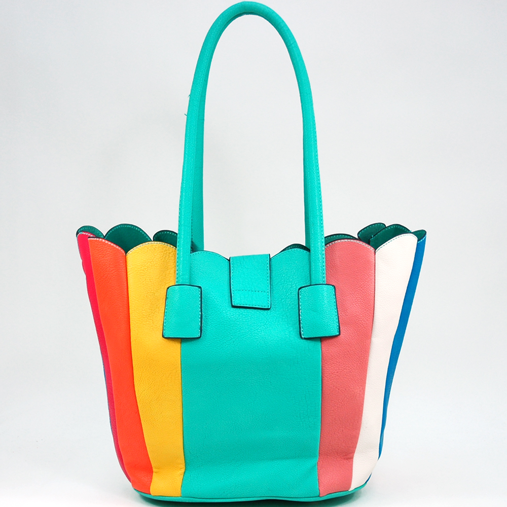 Women's 2-in-1 Multicolor Tote Bag with Bonus Canvas Bag - Aqua/Multicolor